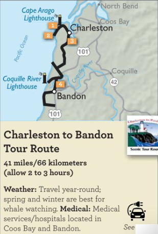 Charleston to Bandon Tour Route